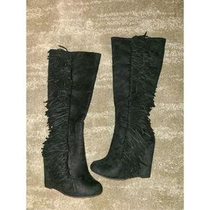 Black Fringe Wedge Boots